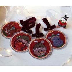 Lot boule de Noël plate rouge